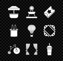Set Attraction Carousel, Ticket, Vintage Bicycle With One Big Wheel And One Small, Curtain, Paper Glass Drinking Straw Water, Magician Hat Rabbit Ears And Hot Air Balloon Icon. Vector
