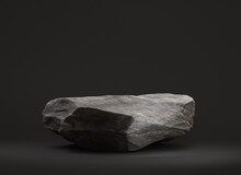 Stone Podium For Display Product On а Black Background. Isolated, Clipping Path Included. 3d