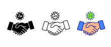 Please Avoid Physical Contact When Greeting. Physical Distancing. Coronavirus Can Transmit Easily Through Hands Shake. Don't Shake Hands Icon. Vector Illustration. Design On White Background. EPS 10.