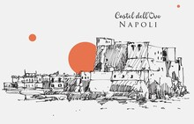 Drawing Sketch Illustration Of Castel Dell'Ovo In Naples, Italy