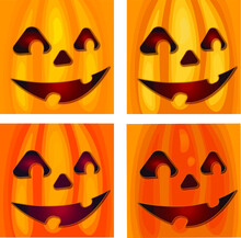 Set Of Four Smiling Halloween Pumpkin Faces Square Backgrounds. Carved Pumpkin