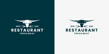 Longhorn, Cow, Buffalo, Logo Design Vector For Restaurant