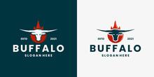 Vintage Buffalo Fire Longhorn Logo Design Vector