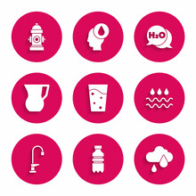 Set Glass With Water, Bottle Of, Cloud Rain, Wave Drop, Water Tap, Jug Glass, Chemical Formula For H2O And Fire Hydrant Icon. Vector