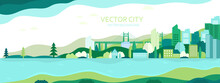 Vector Poster With Nature And City Views.Suburban Houses With Skyscrapers And Trees. Vector City.