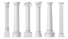 Antique White Columns. Roman Historical Stone Pillars, Marble Pillar Ancient Greece Architecture, Classic Column Art Objects Vector Set
