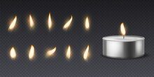 Tea Wax Candle With Flame. Realistic Burning 3d Candles Light And Varios Flames For Animation Picture, Vector Set Isolated On Black Background