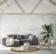 Leinwandbild Motiv Modern home interior background, living room, coastal style, 3D render, 3D illustration