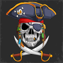 Scary Human Skull Head In Pirate Hat With Two Crossed Swords, Halloween Skeleton Pirate Face