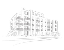 Vector Linear Project Of Block Of Flats. Archirectural Concept Sketch Of Modern House.