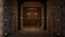 3D Rendering Of A Medieval Castle Or Inn Corridor With Stone Walls, Floor And Steps Leading To Wooden Door.