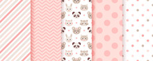 Baby Girl Pattern. Seamless Backgrounds. Pink Kids Textures With Animals, Polka Dot, Zig Zag And Candy Cane Stripe. Set Of Cute Textile Prints. Pastel Childish Scrapbook Backdrops. Vector Illustration