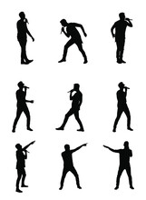 Popular Singer Super Star Vector Silhouette Illustration Isolated On White. Attractive Music Artist On Stage. Singer Man Musician Against Public On Concert. Microphone In Hands. Karaoke Event In Pub.