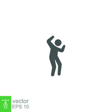 Dancer Dancing Icon Solid In Trendy Style. Man Dancing Simple Element Can Be Use For Web And Mobile. Annoyed Human Figure Feelings Happy Walking. Vector Illustration Design On White Background. EPS 10