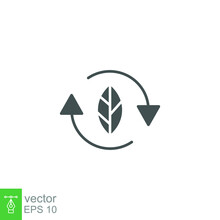 Organic Recycle Icon. Eco Care Product Symbol. Reusable Environmental, Renewable Energy. Reuse Green Waste. Bio Recyclable Label. Editable Stroke Vector Illustration. Design On White Background EPS 10