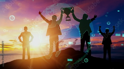 Achievement and Business Goal Success conceptual - Creative business people with icon graphic interface showing employee reward giving for business success achievement.
