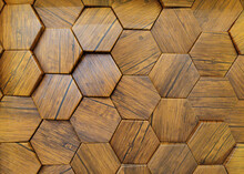 Traditional Ecological Consistent Cladding Of A Wall With Brown Wooden Larch Fish Scales, Wood Shingles, Clapboard, Clapboard Texture Background