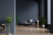 Interior Of Living Room With Sofa On Empty Dark Blue Wall Background.