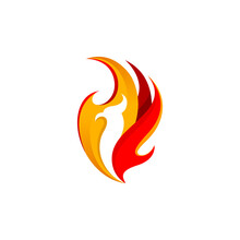 Fire Phoenix Logo Simple And Modern Design