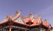 Roof Of Chinese Temple In Denpasar, Bali, Indonesia