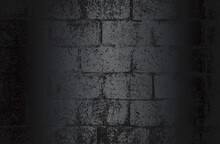 Luxury Black Metal Gradient Background With Distressed Brick Wall Texture.