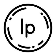 クロアチア・リパ 硬貨 アイコン ベクターイラスト