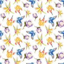 Watercolor Seamless Pattern With Tropical Flowers And Butterfly
