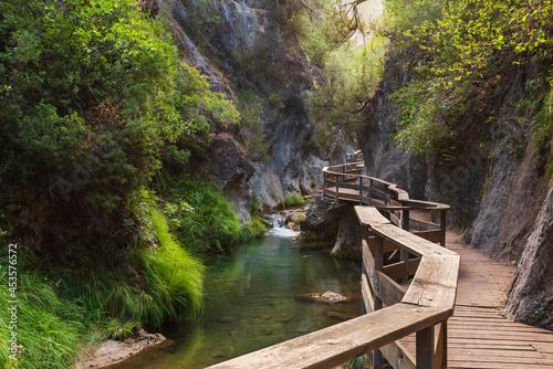 Stampa su Tela Cerrada de Elias (Elias Canyon), a wooden overpass over the Borosa river in the Sierra de Cazorla