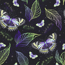 Violet Pattern With Butterflies And Herbs. Contemporary Composition. Trendy Texture For Print, Textile, Packaging.