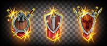 Winner Game Badge Icon Kit, Vector Rank Heraldic Award Set, Medieval Knight Shield, Sword, Helmet, Spear. Magic RPG UI Success Battle Trophy Design, Achievement Level Up Assets. Fire Game Badge Logo
