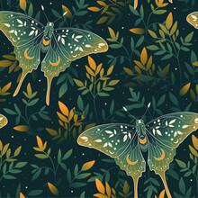 Vector Seamless Pattern With Gold Moon Moth And Stars. Contemporary Composition. Trendy Texture For Print, Textile, Packaging.