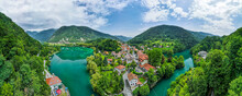Aerial Drone Panoramic View Over Most Na Soci In Slovenia