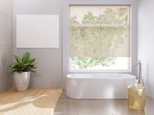 The White Bathroom Has Wooden Floors And Tiles. Bath Tub And Complete With Picture Frame And Tree Pan Looking Out Of The Window, There Are Louvered Shutters Blocking The Sun.3d Rendering