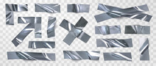 Set Of Isolated Silver Tape, Scotch On A Transparent Background. Realistic Pieces Of Silver Scotch Tape For Attaching. Realistic Vector Illustration.