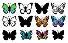 Vector Collection Of Beautiful Butterfly Insects Isolated On White Background. Silhouette Of Colorful Tropical Butterflies. Summer Nature Illustration