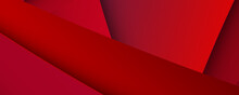 Abstract Red Banner Background With 3d Overlap Layer And Wave Shapes