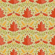 Autumn Maple Leaves Damask Seamless Pattern Background