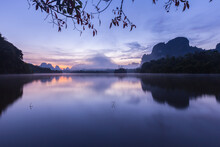 Ban Nong Thale The Natural Scenery Of The Sunshine In The Morning (mountains, Lakes, Trees, Fog), Thailand.