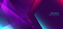Abstract Modern Blue, Pink, Purple Low Polygon Gradient Geometric Background And Texture