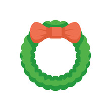 Garland Vector Icon. That Is Braid, Knot Or Wreath Of Plants With Red Bow. Decorative Object For Card, Gift, Souvenir For Celebration Event I.e. Merry Christmas, Holiday, Happy New Year In December.