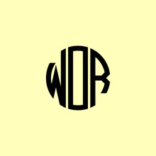 Creative Rounded Initial Letters WOR Logo.
