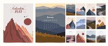 2022 Table Calendar Week Start On Sunday With Mountain And Sun That Use For Vertical Digital And Printable A4 A5 Size