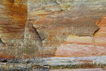 The Texture Of The Layers Of Sandy Rocks. Layers Of Sand Deposits, Devonian Horizons. Soil Structure Allow Sand Swallow. The Soil Layers In The Canyon Are Different Colors. The Sandy - Clay Slope