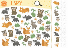 Forest Baby Animals I Spy Game For Kids. Searching And Counting Activity For Preschool Children With Little Fox, Squirrel, Bear, Frog. Funny Woodland Printable Worksheet For Kids. Simple Puzzle