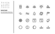 Set Of Weather Line Icons, Temperature, Climate, Forecase, Cloud, Rain