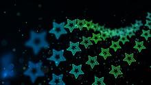 Green Star Turn Blur On Dark Background