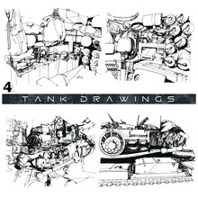 M60 Tank Renderings Inside And Out Drawings Vector Illustration 04