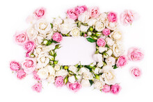 Blank Note Paper Decorated Flowers Frame, White And Pink Roses