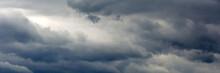 Panoramic Banner Of Dark Gray Clouds Sky.