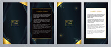 Ornate Gold Brochure Flyer Template For Fancy Invitations Weddings Menus Stationary Advertisement With Navy And Gold